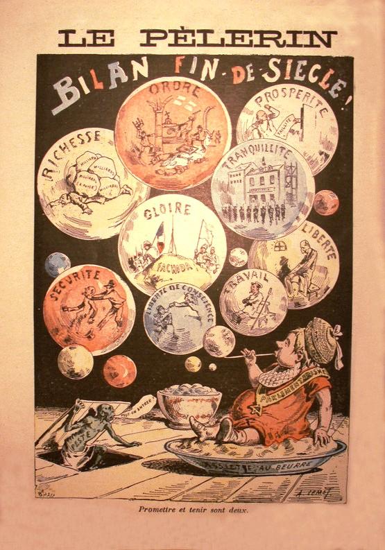 Caricature du journal Le Pèlerin, 'Bilan fin de Siecle!' Date 1900
